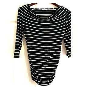 Maternity Pea in Pod B&W Stripe Cowl Neck Shirt